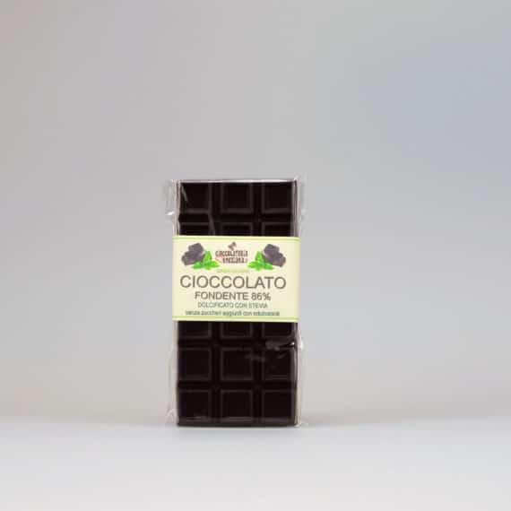 Cioccolato fondente 86% dolcificato con stevia