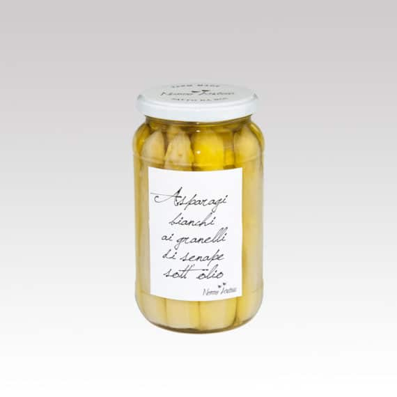 Asparagi bianchi ai granelli di senape sott'olio BIO