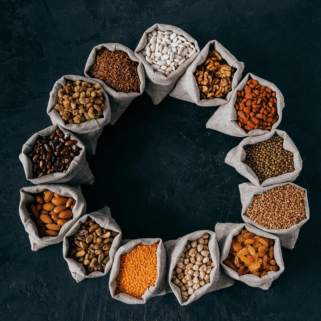 Legumi, cereali e semi