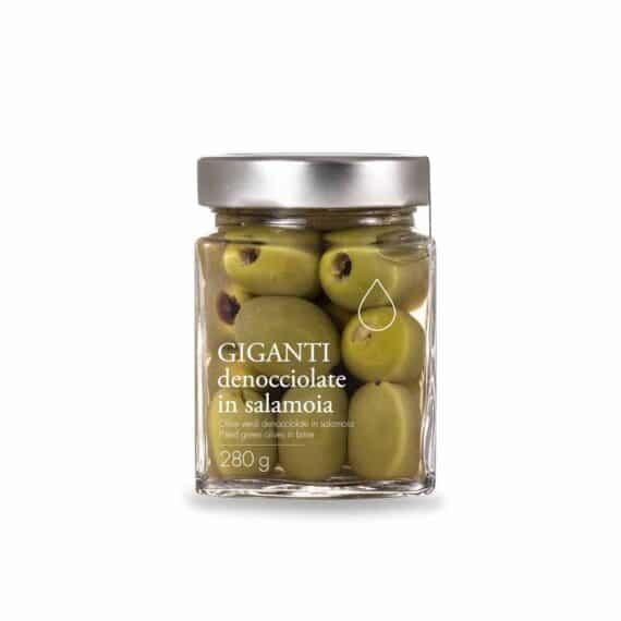 Olive verdi giganti denocciolate in salamoia